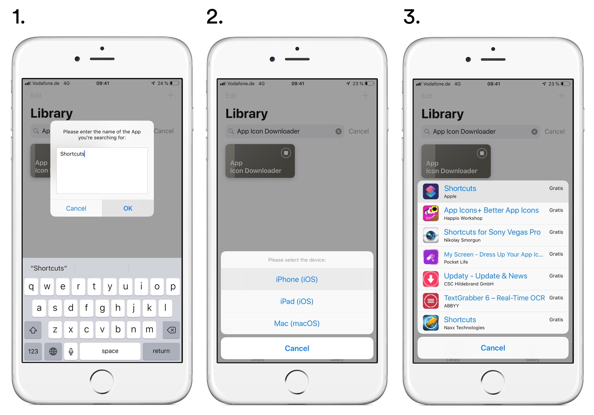 App Icon Downloader Step 1–3
